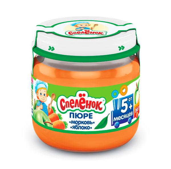 Пюре Спеленок Пюре Морковь яблоко с 5 мес. 80 г пюре спеленок пюре яблоко клубника со сливками с 6 мес 125 г