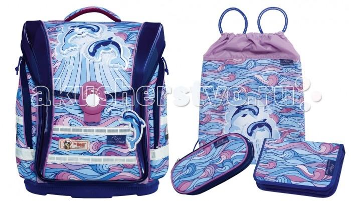 Школьные рюкзаки Thorka Школьный рюкзак MC Neill Ergo Light Compact Дельфины 4 предмета mc neill пенал овальныйl гринтрак цвет зеленый