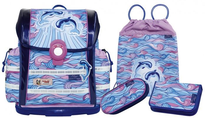 Thorka  Школьный рюкзак MC Neill ERGO Light 912 S Дельфины 4 предметаШкольный рюкзак MC Neill ERGO Light 912 S Дельфины 4 предметаThorka Школьный рюкзак MC Neill ERGO Light 912 S Дельфины - красивый, удобный и практичный набор для школьника.  Вес ранца 900 г, объем 18.5 л, удобный магнитный замок, боковые карманы на кулиске регулируются ограничителями, дно из особо прочного пластика, ортопедическая спина, регулируемые ремни на мягких подушках.  В наборе: рюкзак пенал с наполнением (карандаши, ластик, 2 линейки, точилка - всего 23 ед.), пенал-овал, сумка для сменной обуви.<br>