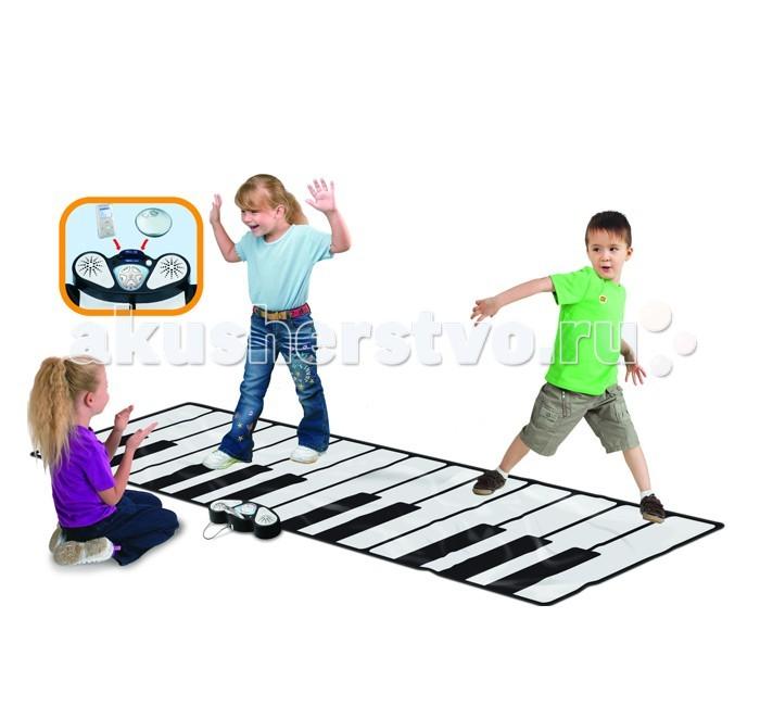 Игровой коврик EvoLife Музыкальное напольное пианино Zippy matМузыкальное напольное пианино Zippy matМузыкальное напольное пианино Zippy mat доставит огромную радость детям и взрослым, которые прыгая по клавишам и наступая на них ногами будут не только воспроизводить музыкальные звуки, но и составлять целые мелодии!   На консоли расположен выключатель питания, индикатор питания и круглый регулятор громкости. 4 режима работы: запись, воспроизведение, демо и игра.  С помощью переключателя можно выбирать инструменты, которые будут звучать при нажатии на клавиши - 8 различных инструментов.   Также есть возможность записи фрагментов собственных мелодий (до 50 нот).  Черные клавиши на напольном пианино позволяют выбрать одну из десяти мелодий.   При подключении MP3-плеера или другого устройства воспроизведения музыки к консоли, пианино начнет воспроизведение MP3-файлов.   Для облегчения хранения и транспортировки, игрушка легко складывается в рулон.  На этом коврике может играть как один ребенок, так и группа друзей.   Питание: 4 элемента АА-типа.  Размеры: 2.6х0.74 м.<br>