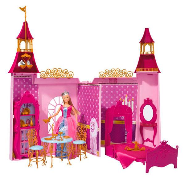 Simba Кукольный домик Штеффи и ее замокКукольный домик Штеффи и ее замокКукольный домик Simba Штеффи и ее замок - это очень красочный, детально проработанный набор, в который входит не только сама кукла, но и ее замок, а также множество аксессуаров для игры. Замок создан в розовом, малиновом, лиловом цвете с вкраплениями золотого.   Особенности: В наборе есть резные стульчики и стол, королевская кровать, шкафчик, туалетный столик, посудка В высоких башнях можно рассмотреть гнездо птичек, балкончики Сама кукла Штеффи, входящая в набор, одета в пышное бальное платье, на ее голове корона Длинные светлые волосы куклы можно расчесывать. Замок можно складывать и расладывать, как книгу Специальная перегородка делит пространство на 2 комнаты  В комплекте: Кукла Замок Аксессуары  Высота куклы: 26 см Высота замка: 67 см<br>