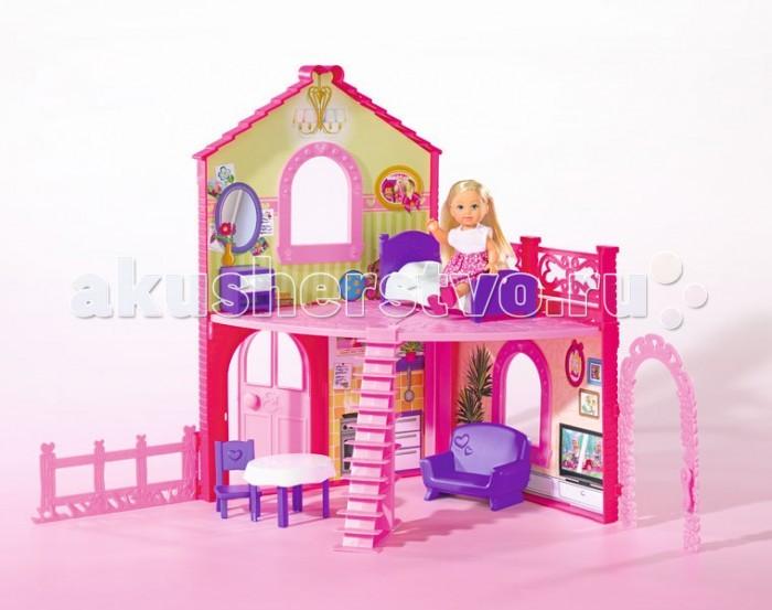Simba Кукольный домик Еви в двухэтажном домеКукольный домик Еви в двухэтажном домеКукольный домик Simba Еви в двухэтажном доме – мечта многих маленьких девочек. Им хочется побыть хозяйкой, обустроить комнатки, накрыть на стол, а потом позвать в гости игрушечных друзей.   Особенности: Такие игры помогают девочкам пережить роли, которые они будут выбирать в будущем, и очень полезны для детского психоэмоционального развития В комплект игрового набора входит также очаровательная жительница домика – куколка Еви, которая обязательно понравится вашей малышке.  В комплекте: Кукла Замок Аксессуары  Высота куклы: 12 см Высота дома: 38 см<br>