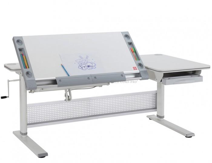 Comf-Pro Парта М9Парта М9Парта Comf-Pro M9 легко отрегулировать на нужную высоту.   При вращении ручки в сторону метки DOWN стол опускается, аналогично к метке UP стол поднимается. Наклонную часть столешницы можно поднять на максимальную высоту от пола до 1 метра. Для этого нужно нажать рычаг под столешницей. Столешница легко поднимется с помощью пневмо-механической системы STABILUS (Германия). Чтобы опустить столешницу, нажмите рычаг под ней и надавите на столешницу рукой вниз. Вы всегда можете наклонить столешницу под нужным углом для работы, ручка регулировки угла наклона столешницы от 0° до 37°. Столешница имеет 2 боковых отверстия для проводов. Благодаря этому можно расположить системный блок с удобной стороны.  Comf-Pro M9 предоставляется возможность регулировать высоту каждой опорной ноги - для неровных полов (до 3 см). Встроенные боковые пеналы для карандашей и встроенный лоток со сдвижными линейками помогут сохранить и не растерять канцелярские принадлежности. Выдвижной ящик для бумаг и тетрадей позволит содержать стол в порядке.  Особенности: Размеры парты: 140 х 77 см Регулировка наклона столешницы: 0-37° Регулировка высоты стола: 20-95 см Выдвижной ящик Три механизма регулировки Встроенные органайзеры по бокам столешницы Г-образная полка Изготовлено из экологически чистого МДФ (стандарт E0) Рекомендуемый рост: 110-185 см<br>