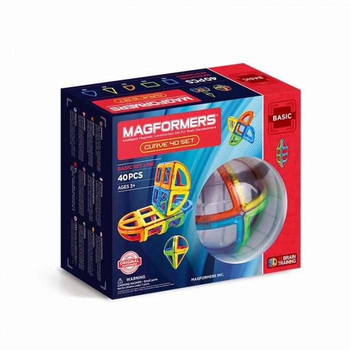 Конструктор Magformers Магнитный Curve 40Магнитный Curve 40Magformers Магнитный конструктор Curve 40 — набор из магнитных деталей объемных форм: секторов, конусов, арок и сегментов сферы. Все элементы совместимы между собой.  Магформерс — это развивающий магнитный конструктор нового поколения. Магнитные детали разнообразных геометрических форм складываются в самые невероятные модели: башни и роботы, животные и автомобили.   Магниты укреплены внутри деталей особым образом, который позволяет им поворачиваться друг к другу нужной стороной. В результате детали всегда притягиваются, и строить из них легко и удобно. В конструкторе используются самые сильные в мире неодимовые магниты, они повышают прочность построек.  Конструктор обладает уникальным развивающим потенциалом и подходит для игры и занятий с самого раннего возраста. Работа с деталями улучшает мелкую моторику, а постройка объемных фигур развивает пространственное и абстрактное мышление. Возможности для раскрытия творческих способностей ребенка с Магформерс практически безграничны: из магнитных деталей можно собрать самые невероятные и фантастические модели.  Детали изготовлены из очень прочного и эластичного пластика, который нелегко сломать и взрослому человеку. Ваш ребенок не поранится острыми краями обломков и не доберется до маленьких магнитов внутри.  Состоит из 40 элементов: Квадрат — 8 шт. Сектор — 8 шт. Арка — 8 шт. Сегмент конуса — 8 шт. Сегмент сферы — 8 шт.<br>