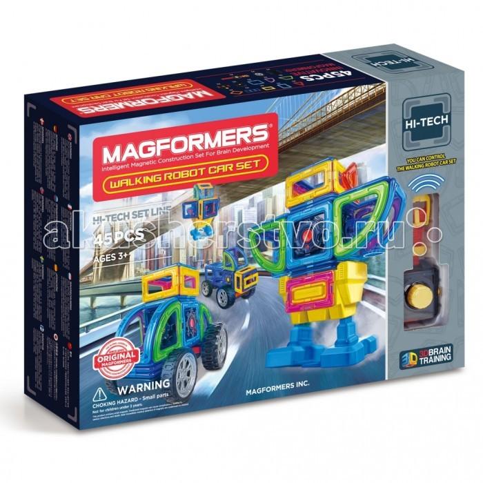 Конструктор Magformers Магнитный Walking Robot Car Set 45Магнитный Walking Robot Car Set 45Magformers Магнитный конструктор Walking Robot Car Set 45  - это развивающий магнитный конструктор нового поколения. Магнитные детали разнообразных геометрических форм складываются в самые невероятные модели: башни и роботы, животные и автомобили - Магформерс развивает интеллект и воображение ребенка.  Магниты укреплены внутри деталей особым образом, который позволяет им поворачиваться друг к другу нужной стороной. В результате детали всегда притягиваются, и строить из них легко и удобно. В конструкторе используются самые сильные в мире неодимовые магниты, они повышают прочность построек.  Магформерс обладает уникальным развивающим потенциалом и подходит для игры и занятий с самого раннего возраста. Работа с деталями улучшает мелкую моторику, а постройка объемных фигур развивает пространственное и абстрактное мышление. Возможности для раскрытия творческих способностей ребенка с Магформерс практически безграничны: из магнитных деталей можно собрать самые невероятные и фантастические модели.  Детали Магформерс изготовлены из очень прочного и эластичного пластика, который нелегко сломать и взрослому человеку. Ваш ребенок не поранится острыми краями обломков и не доберется до маленьких магнитов внутри.<br>