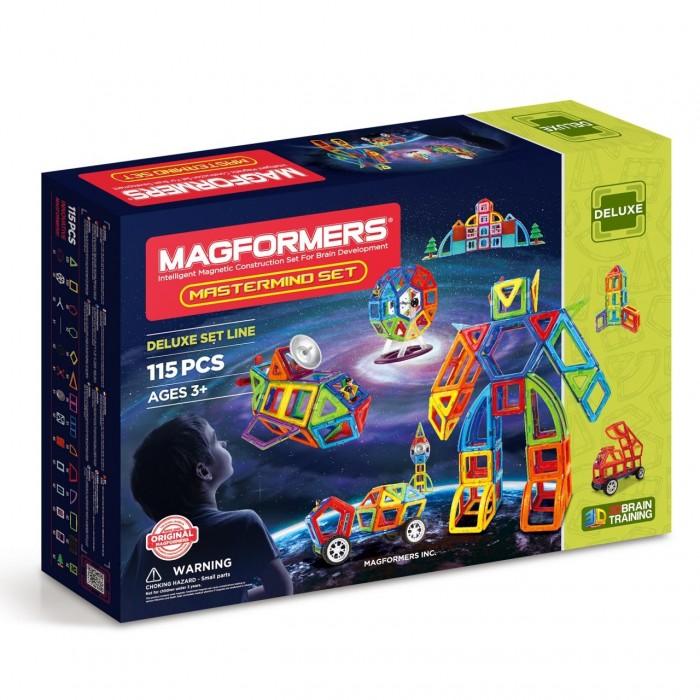 Конструктор Magformers Магнитный Mastermind setМагнитный Mastermind setMagformers Магнитный конструктор Mastermind set — это развивающий магнитный конструктор нового поколения. Магнитные детали разнообразных геометрических форм складываются в самые невероятные модели: башни и роботы, животные и автомобили. В набор входят плоские и объемные магнитные детали, а также основные аксессуары (колеса, пропеллер, антенна, колесо обозрения, строительные аксессуары). Создание разнообразных тематических моделей из Magformers Mastermind set поможет ребенку развить творческие способности и воображение.  Магниты укреплены внутри деталей особым образом, который позволяет им поворачиваться друг к другу нужной стороной. В результате детали всегда притягиваются, и строить из них легко и удобно. В конструкторе используются самые сильные в мире неодимовые магниты, они повышают прочность построек.  Магформерс обладает уникальным развивающим потенциалом и подходит для игры и занятий с самого раннего возраста. Работа с деталями улучшает мелкую моторику, а постройка объемных фигур развивает пространственное и абстрактное мышление. Возможности для раскрытия творческих способностей ребенка с Магформерс практически безграничны: из магнитных деталей можно собрать самые невероятные и фантастические модели.  Детали конструктора изготовлены из очень прочного и эластичного пластика, который нелегко сломать и взрослому человеку. Ваш ребенок не поранится острыми краями обломков и не доберется до маленьких магнитов внутри.  Состав: 115 элементов<br>