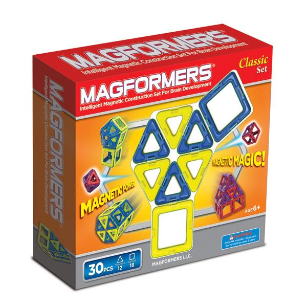 Конструктор Magformers Магнитный Classic 30 63068Магнитный Classic 30 63068Магнитный конструктор Classic 30 Piece Set Magformers 63068.  Для обучения используйте одноцветные квадраты и треугольники, обращая внимание только на различие геометрических форм.   Собирайте новые составные геометрические фигуры, например: прямоугольник (из 2 квадратов), большой квадрат (из 4 квадратов), ромб (из 2 треугольников), подчеркивая единство новой формы ее одноцветностью.   Создавайте сложные трехмерные постройки (домики, небольшие замки, волшебные шары), выделяя цветом ту часть или части, к которым вы хотите привлечь внимание.   Конструктор включает квадраты и маленькие треугольники, с помощью этих простых геометрических фигур Ваш малыш может создавать интересные модели и формы, например, домик, объемный шар, башни, пирамиды, микрофон, маленький шарик.  Магнитный конструктор Magformers 30 деталей понравится и мальчику, и девочке. Цветные детали обязательно привлекут взгляд малыша, а легкость сборки и многообразие решений позволят ребенку играть с этой игрушкой каждый день!  Все детали этого набора совместимы с другими наборами Magformers позволяет делать очень интересные комбинации.  Набор Magformers 30 содержит 30 деталей: 12 треугольников 18 квадратов.  Материал: высококачественный пластик, магнит. Размеры упаковки: 23 x 22 x 5 см Упаковка: картонная коробка Вес: 400 г<br>