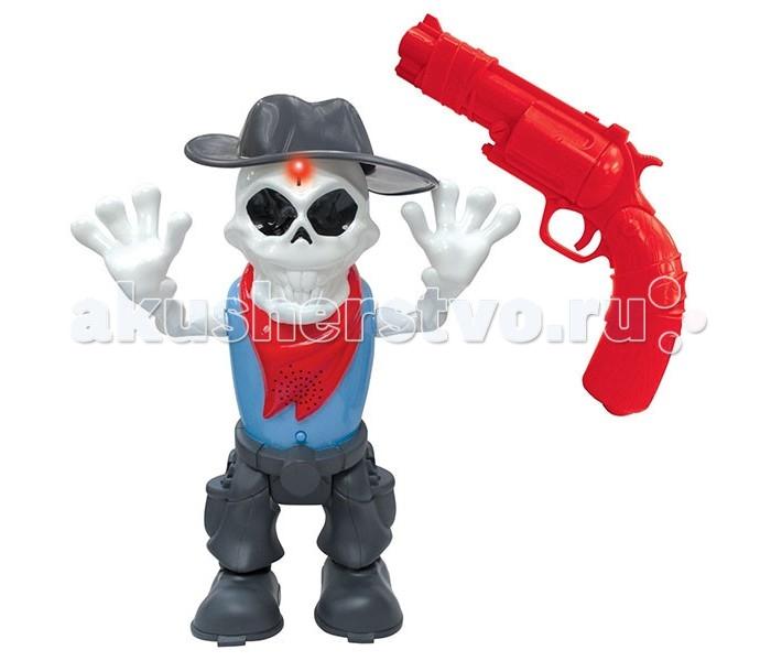 Dragon-i ИК-тир Skeleton BlastИК-тир Skeleton BlastDragon-i ИК-тир Skeleton Blast выполненный в стиле Дикого Запада.   Особенности: Суть игры заключается в том, чтобы обезвредить скелета, преследующего игрока. Скелет выполнен в белом цвете и одет в костюм ковбоя. У него черная широкополая шляпа, такого же цвета штаны с карманами, голубая майка и красный платок на шее. Пистолет выполнен в виде красного револьвера. Чтобы остановить скелета, необходимо: Осуществить 9 точных попаданий в скелета за 30 секунд. После 3 попаданий скелет лишится руки. 6 попаданий - ковбойская шляпа слетит с головы. 9 попаданий - скелет повержен. Он упадет на землю.<br>