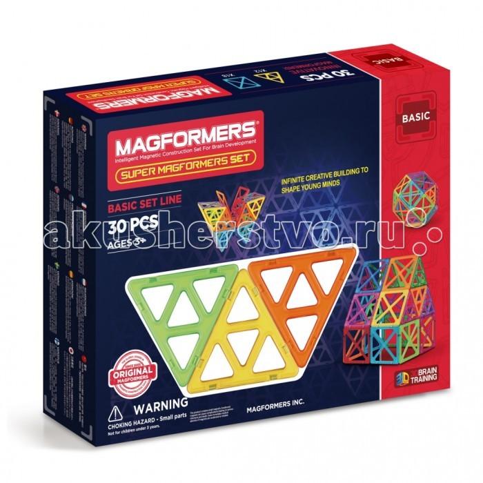 Конструктор Magformers Магнитный Super Set 30 63078Конструкторы<br>Магнитный конструктор Magformers Super Set 30 63077 состоит из больших квадратов и больших треугольников. В один большой квадрат помещаются 4 обычных квадрата, в один большой треугольник помещаются 4 обычных треугольника. Без этого набора Вашему ребенку не построить заветную Эйфелеву башню.  Магнитный конструктор Magformers относится к категории лучших развивающих игрушек для малышей и детей постарше. Это необыкновенный конструктор, который ценится своим многообразием и качеством материала. Детали магнитного конструктора Magformers сделаны из высококачественного пластика, который является абсолютно безопасным даже для самых маленьких строителей.  С каждой стороны фигуры магнитного конструктора Magformers внутри есть специальный магнит, благодаря которому детали конструктора могут соединяться между собой. Держатся детали довольно крепко, созданную конструкцию можно поднять за верхушку.  Magformers — лучшая трехмерная игрушка для развития воображения, пространственного мышления и общих мыслительных способностей. Дети могут превращать плоские предметы в объёмные, изучать принципы магнетизма.  Все детали в конструкторах Magformers совместимы, независимо от размера, что позволяет делать интересные комбинации с другими наборами Magformers.  В набор входит: - Большие треугольники - 12 шт. - Большие квадраты - 18 шт. - Книжка с идеями построек.  Размеры стороны треугольника: 11,5 см, а квадрата - 12,5 см Размеры упаковки: 39 х 30 х 7 см Материал: высококачественный пластик, магнит Упаковка: картонная коробка.
