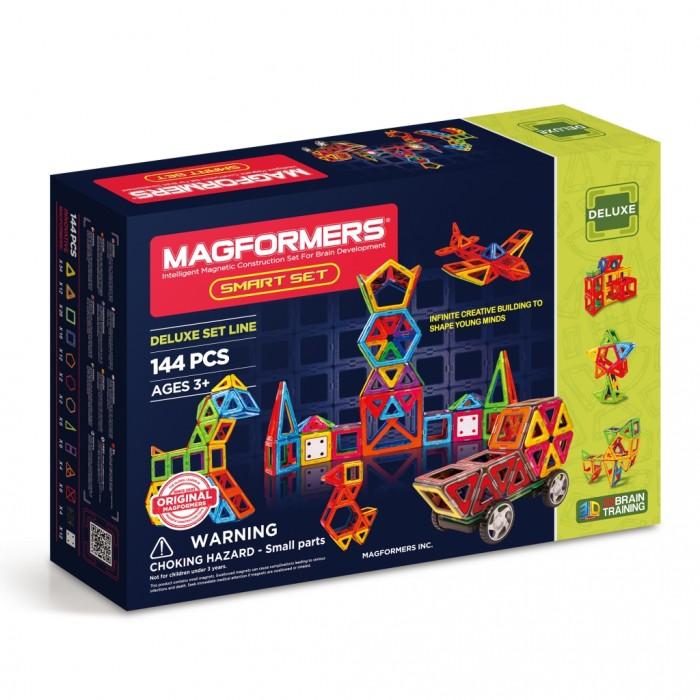 Конструктор Magformers Магнитный Smart Set 63082Магнитный Smart Set 63082Магнитный конструктор Magformers Smart Set 63082.  В составе этого набора много основных деталей - треугольников и квадратов. Уже только с их помощью вы сможете делать шары, башни, домики. А уж если добавить остальные детали, то возможности Магформерс становятся практически безграничны.   Платформы с колесами, входящие в состав набора, позволяют собирать различные машины. Вставки в квадраты предназначены для украшения построек, и, заодно, могут помочь вашему ребенку изучить счет, например, также с их помощью полые квадраты можно сделать объемными.  В набор входят суперквадраты и супертреугольники, которые так любят дети, ведь они по размеру в 4 раза превышают обычные, и постройки с их использованием сразу сделают ваши творения масштабнее и грандиознее.<br>