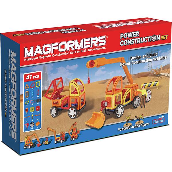 Конструктор Magformers Магнитный Power Construction Set 63090Магнитный Power Construction Set 63090Магнитный конструктор Magformers Power Construction Set 63090 - этот набор, предназначенный для создания строительной техники, пожалуй, самый интересный из существующих.   В состав набора входят новые детали - сектор, арка, мини-прямоугольник, а также специальные аксессуары, которые позволят ребенку создавать разнообразные модели строительных машин. Причем кажется, что возможности этих аксессуаров просто безграничны. Вы можете создать обычную машинку, а потом при помощи рычагов и коннекторов превратить ее в настоящий трактор или бульдозер.  Сам набор также дополнен фигуркой «Строитель в униформе» с подвижными руками и ногами, что позволяет не просто создать экскаватор, но и посадить внутрь него водителя. За счет того, что в ноги и руки строителя вмонтированы магниты, его прочно можно закрепить внутри созданной техники. Или проявите фантазию и посадите строителя, например, на крышу.  В набор входит уже готовый ковш, что упрощает процесс создания техники типа экскаватор, специальные коннекторы и рычаги для его крепления, а также 2 отдельных колеса, которые крепятся при помощи рычагов и создают еще один ряд колес в ваших машинах. Также в наборе есть веревочный блок и стрела - благодаря этим деталям, вы сможете сделать настоящий кран и поднимать различные грузы.  Этот набор предназначен для детей, которые хорошо эрудированны и развиты (возраст не является основным критерием для магнитных конструкторов Magformers). Все детали этого набора совместимы с другими наборами Magformers, это позволяет делать очень интересные комбинации.  Набор Magformers Power Construction Set содержит 47 элементов.<br>