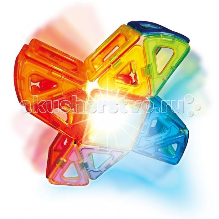 Конструктор Magformers Магнитный Lighted Set 63092Магнитный Lighted Set 63092Магнитный конструктор Magformers Lighted Set 63092 - фантастический набор, в который входят новые детали миниарка и минисектор, новый уникальный элемент со светодиодной подсветкой, светорассеивающие пирамиды.  Сказочные кристаллы и цветы, космические ракеты и волшебные замки, все это теперь можно построить и осветить 7-ю различными цветами!  Набор идеален и как развитие Вашей коллекции Магформерс, и как первый конструктор Магформерс у Вас дома. Ведь все детали конструкторов Магформерс 100% совместимы друг с другом.  Набор Magformers Lighted Set содержит 55 элементов.<br>