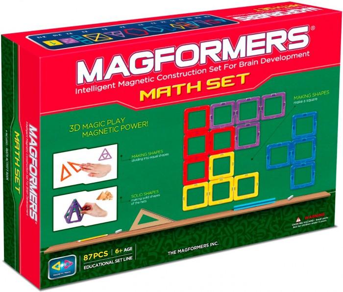 Конструктор Magformers Магнитный набор Увлекательная Математика 63109Магнитный набор Увлекательная Математика 63109Магнитный конструртор Magformers 63109 Набор Увлекательная математика (учебное пособие в комплекте).  Набор является облагороженной версией суперпопулярного у юных математиков и их родителей набора Magformers Увлекательная математика старой версии.  Комплектуется Учебным пособием Magformers. Содержит необходимые элементы для решения всех приведенных в пособии задач.   С его помощью ребенок в игровой форме: познакомится с основными геометрическими формами, делением их на части и составлением новых начнёт изучать цифры и арифметические действия, последовательности и дроби, сложение нескольких цифр откроет для себя мир симметрии, геометрических последовательностей и закономерностей; научится создавать простые и сложносоставные трехмерные фигуры, раскладывать их на плоскости и строить проекции. Magformers «Увлекательная математика» идеально подходит для детского сада и начальной школы!  Набор Magformers Увлекательная математика содержит 100 элементов: - треугольник 20 шт. - равнобедренный треугольник 8 шт. - прямоугольный треугольник 2 шт. - супертреугольник 2 шт. - квадрат 24 шт. - суперквадрат 2 шт. - прямоугольник 5 шт. - суперпрямоугольник 2 шт. - ромб 4 шт. - трапеция 2 шт. - пятиугольник 2 шт. - шестиугольник 4 шт. - блок-вставка 10 шт. - карты 13 шт.<br>