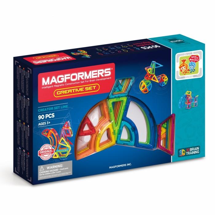Конструктор Magformers Магнитный Creative 90 63118Магнитный Creative 90 63118Магнитный конструктор Magformers Creative 90 63118.  Несмотря на то, что все детали «Magformers Creative 90» встречаются в любом другом наборе, количество элементов не даст фантазии Вашего ребёнка расслабиться. Немного креативности, и любой замок или дворец, танк или корабль, дерево или бабочка могут быть построены в считаные минуты.   Ромбы и трапеции, прямоугольники и пятиугольники, арки и суперарки и ещё многое другое ждёт Вас в этом замечательном наборе!  Магнитный конструктор Magformers относится к категории лучших развивающих игрушек для малышей и детей постарше. Это необыкновенный конструктор, который ценится своим многообразием и качеством материала. Детали магнитного конструктора Magformers сделаны из высококачественного пластика, который является абсолютно безопасным даже для самых маленьких строителей.  С каждой стороны фигуры магнитного конструктора Magformers внутри есть специальный магнит, благодаря которому детали конструктора могут соединяться между собой. Держатся детали довольно крепко, созданную конструкцию можно поднять за верхушку.  Magformers — лучшая трехмерная игрушка для развития воображения, пространственного мышления и общих мыслительных способностей. Дети могут превращать плоские предметы в объёмные, изучать принципы магнетизма.  Набор Magformers Creative 90 содержит 90 элементов: треугольник 12 шт. равнобедренный треугольник 8 шт. квадрат 20 шт. прямоугольник 4 шт. ромб 4 шт. трапеция 4 шт. пятиугольник 2 шт. сектор 8 шт. суперсектор 8 шт. арка 4 шт. суперарка 4 шт. сегмент конуса 4 шт. сегмент сферы 8 шт.<br>