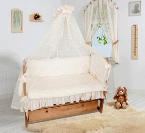 Комплект в кроватку Soni Kids Кружевное великолепие (7 предметов)Кружевное великолепие (7 предметов)Очень красивый высококачественный комплект в кроватку, состоящий из 7 предметов.   Ткань: сатин.  Состав: 100% высококачественный хлопок.  Наполнитель: холлофайбер. Балдахин: вуаль или сетка 100% п/э.  Размеры: Пододеяльник- 140х110  Простынка на резинке - 150х90 Наволочка -60х40  Одеяло -140х110  Подушка -60х40  Балдахин -420х165  Бортик -360х44<br>