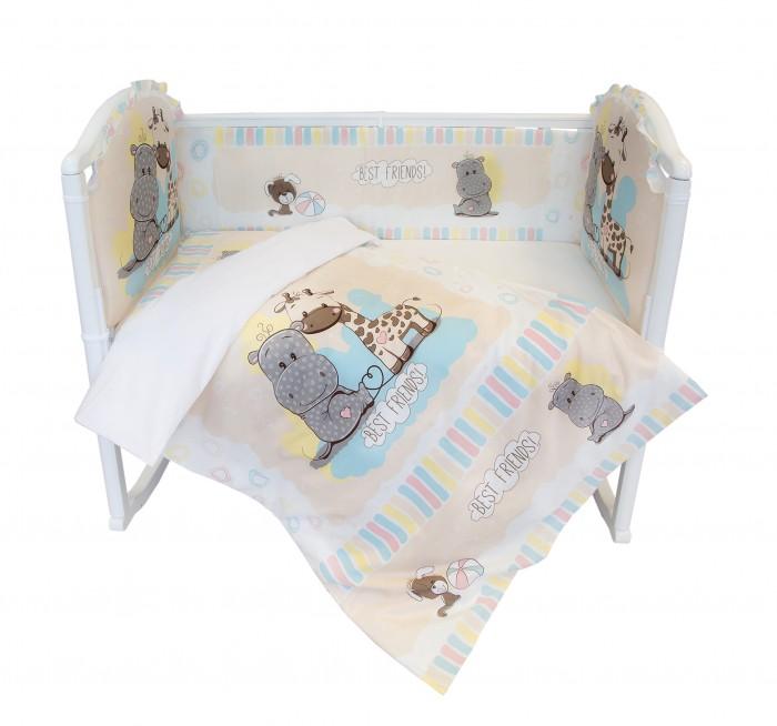 Комплект в кроватку Baby Nice (ОТК) Лучшие друзья (6 предметов)Лучшие друзья (6 предметов)Комплект в кроватку Baby Nice (ОТК) Лучшие друзья (6 предметов) для самых маленьких изготовлен только из самой качественной ткани, самой безопасной и гигиеничной, самой экологичной гипоаллергенной.  Особенности: Отлично подходит для кроваток малышей, которые часто двигаются во сне. Хлопковое волокно прекрасно переносит стирку, быстро сохнет и не требует особого ухода, не линяет и не вытягивается.  Ткань прошла специальную обработку по умягчению, что сделало её невероятно мягкой и приятной к телу. В комплекте: простынь 112 х 147 см пододеяльник 112 х 147 см  наволочка 40 х 60 см  борт ( 120 х 35 - 2 шт., 60 х 35 - 2 шт.) одеяло с наполнителем файбер 110 х 140 см подушка 40 х 60 см<br>
