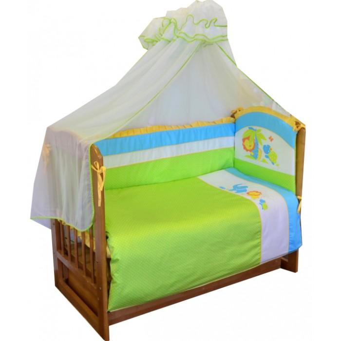 Комплект в кроватку Soni Kids Джунгли (7 предметов)Джунгли (7 предметов)Очень красивый высококачественный комплект в кроватку, состоящий из 7 предметов.   Ткань: сатин.  Состав: 100% высококачественный хлопок.  Наполнитель: холлофайбер. Балдахин: вуаль п/э.  Размеры: Пододеяльник- 140х110  Простынка на резинке - 150х90 Наволочка -60х40  Одеяло -140х110  Подушка -60х40  Балдахин -420х165  Бортик -360х44<br>