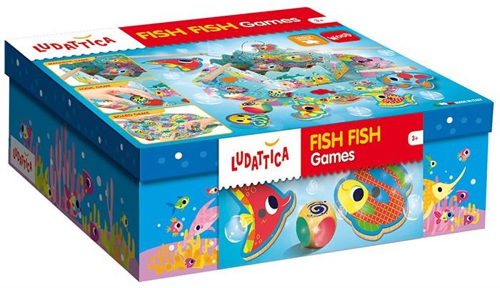 Ludattica Игра настольная Веселая рыбалка (3 в 1) 57993Игра настольная Веселая рыбалка (3 в 1) 57993Ludattica Игра настольная Веселая рыбалка (3 в 1) 57993  Набор содержит три простых и веселых игры. Ребенок играет в рыбалку, используя магнитные удочки и деревянных рыб различных форм и цветов.  Игра развивает логическое мышление, наблюдательность и внимание, мелкую моторику, воображение. Продукт разработан в Италии, в Центре Исследований и Разработки Lisciani. Возраст: от 3 лет.<br>