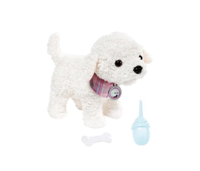 Интерактивная игрушка Zapf Creation Собака ПудельСобака ПудельИнтерактивная игрушка Zapf Creation Собака Пудель будет интересна девочкам от трех до восьми лет. Эта милая собачка белого цвета нуждается в доброй и заботливой хозяйке, которая будет с ней гулять и играть.  Особенности: Собака Пудель - это хорошая альтернатива для ребенка в случае, если нет возможности по каким-либо причинам завести настоящего щенка. Этому очаровательному пуделю можно дать косточку и бутылочку с водой, которые входят в комплект.  Собачка умеет лаять: для этого нужно нажать ей на ушко и она тут же зальется веселым лаем.  Она умеет двигаться и даже писать, и благодаря всем этим навыкам, собачка Беби Бон очень похожа на настоящую и может стать другом для маленькой девочки. Игра с таким замечательным песиком доставит ребенку массу удовольствия, а также научит проявлять заботу и ухаживать за животными.<br>