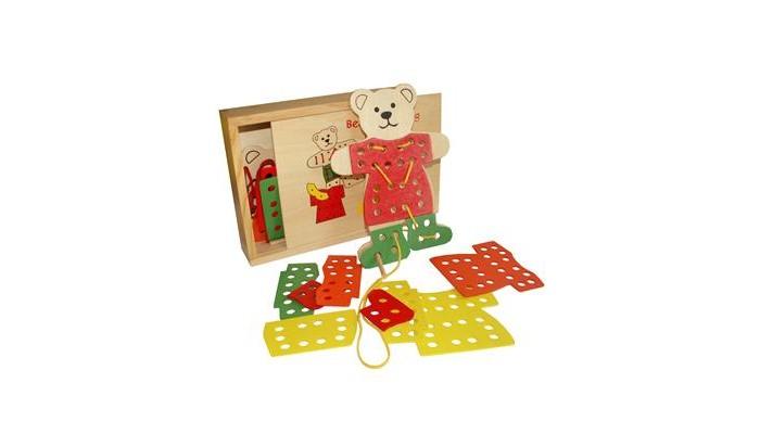 Деревянные игрушки QiQu Wooden Toy Factory Шнуровка Медвежонок