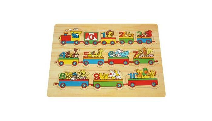 Пазлы QiQu Wooden Toy Factory Пазл-вкладыш Вагончики пазлы бомик вкладыш бабочки