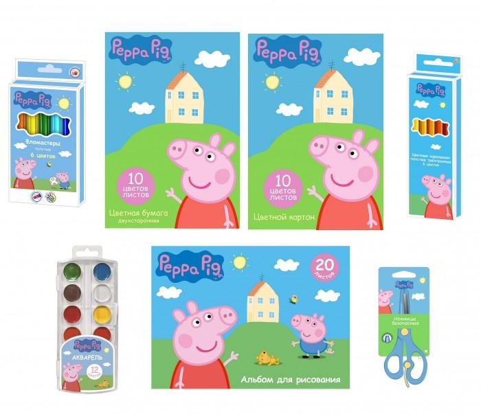Принадлежности для рисования Свинка Пеппа (Peppa Pig) Набор для детского творчества (7 предметов) набор цв бумаги картон а4 20л 10цв amore tenero at47 at48