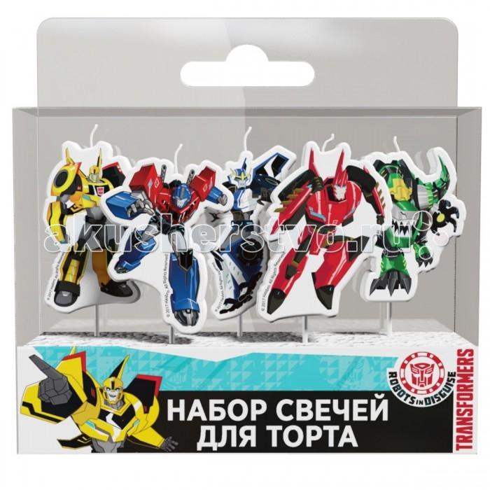 Товары для праздника Transformers Набор свечей на палочках 5 шт.  товары для праздника поиск свечи для торта с держателями мини 24 шт