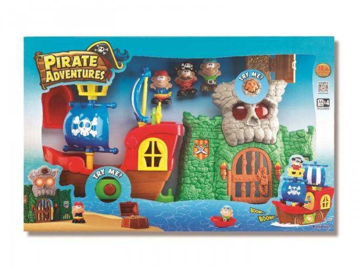 Keenway Игровой набор Пиратские приключения 10774Игровой набор Пиратские приключения 10774Keenway Игровой набор Пиратские приключения 10774 непременно завоюет сердце вашего маленького непоседы. Увлекательная игра увлечет ребенка не на один час и подарит ему немало положительных эмоций и поможет развить фантазию.  Особенности: В комплекте ребенок найдет пиратский корабль, фигурки пиратов с подвижными руками, пиратскую скалу, сундук с сокровищами, пушку со снарядами, а также другие аксессуары Все игрушки отлично детализированы и имеют удобные для детских рук размеры. Штурвал корабля может поворачиваться в разные стороны Набор оснащен световыми и звуковыми эффектами, что сделает игру еще более увлекательной и реалистичной Игры с таким набором будут способствовать развитию мелкой моторики, координации, фантазии малыша. Комплектация: корабль, фигурки пиратов, замок, две пушки, сундук с сокровищами.<br>
