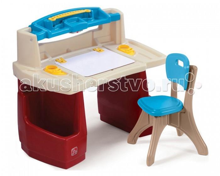 Step 2 Парта и стул для занятийПарта и стул для занятийЭта парта замечательное рабочее место для вашего ребенка! Удобная и функциональная парта поможет разместить много своих принадлежностей. Можно рисовать, играть и обучаться. Прочная безопасная конструкция. Прослужит долгие годы.  Характеристики: изготовлена из высококачественного прочного пластика подходит для детей от 3 лет оригинальный дизайн товар сертифицирован устойчивая безопасная конструкция обтекаемая форма, без острых углов  столик со встроенными отделениями для хранения принадлежностей широкая столешница для письменных работ с отделением для хранения рисунков и тетрадей встроенная лампа для подсветки стола (требуется 3 батареи питания ААА, в комплект поставки не входят) по бокам столика специальные ящики для хранения книг, альбомов верхняя полочка для хранения маркеров, карандашей и т.д. к парте прилагается 1 стул парта легко моется при установке требуется минимальное участие взрослых прочная конструкция прослужит вашим детям долгие годы   Размеры(дхшхв) 92x51x76.2 см Вес 10 кг<br>