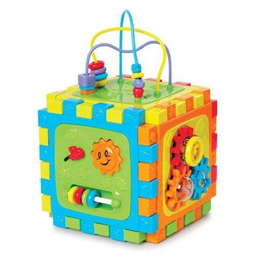 Развивающая игрушка Playgo Активный кубАктивный кубПереворачивая куб, малыш получит доступ ко всем сторонам игрушки и будет с увлечением изучать все новые и новые возможности каждой из предложенных мини игр.   На сторонах куба: забавные вращающиеся шестеренки счеты сортер с основными геометрическими фигурами разноцветные бусины нанизанные на пластиковую проволоку конструктор с крупными деталями многое другое  При желании стороны куба можно отсоединить друг от друга и сложить в виде пазла на полу. Тогда ребенок сможет играть со всеми сторонами куба одновременно.  Игрушка оказывает большое содействие в развитии тактильных и моторных навыков, разных видов мышления, смекалки и ловкости.  Размер куба 25х25х25 см<br>