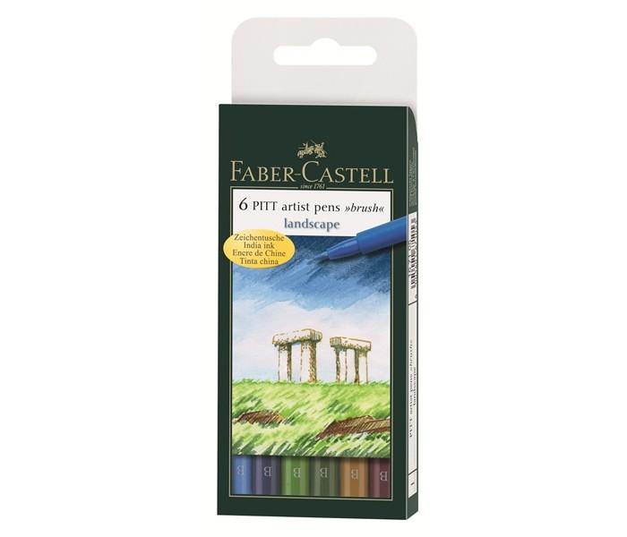Канцелярия Faber-Castell Капиллярные ручки PITT artist pen натуральные оттенки 6 шт. 167105