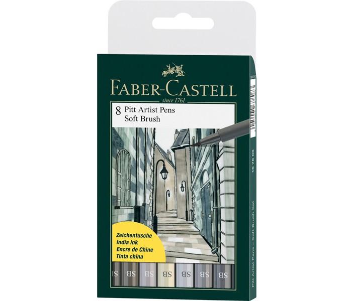 Развитие и школа , Канцелярия Faber-Castell Капиллярные ручки Pitt Artist Pen Soft Brush 8 шт. арт: 368718 -  Канцелярия