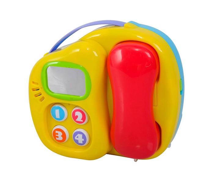 Playgo Телефон и оркестрТелефон и оркестрОдна сторона центра представляет различные музыкальные инструменты: фигурные кнопки трубы, гитары, барабана.  Пианино представляют 3 клавиши-ноты и мелодии в записи.  На обратной стороне центра встроен телефонный аппарат с подсвечивающимся экраном, трубкой и 4 кнопками-клавишами, издающими звуки набора номера.  Игрушка выполнена из высококачественной пластмассы, безопасной для ребенка.<br>