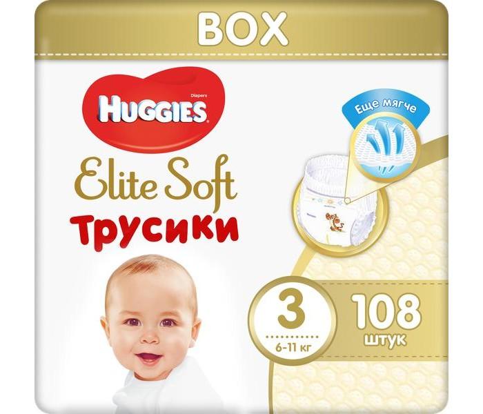 Гигиена и здоровье , Подгузники Huggies Подгузники-трусики Elite Soft М (6-11 кг) 108 шт. арт: 370508 -  Подгузники