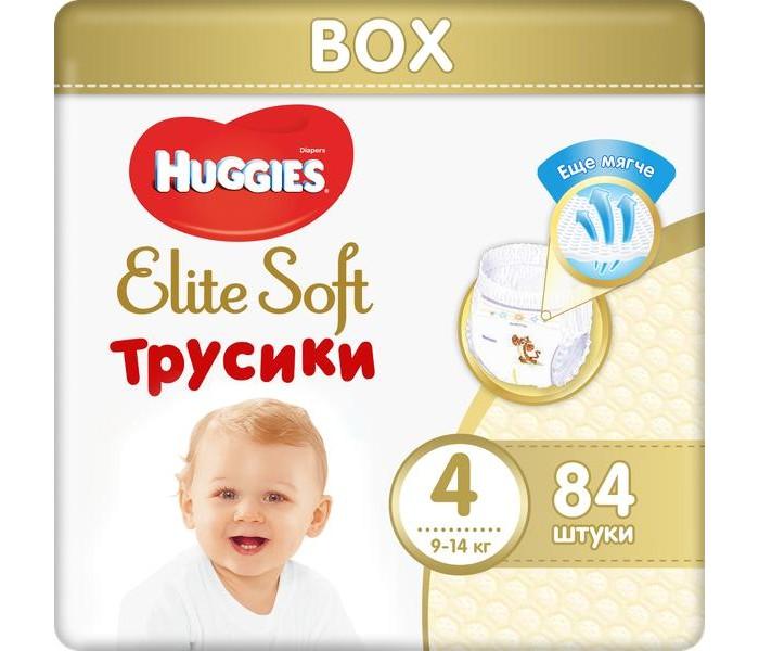 Гигиена и здоровье , Подгузники Huggies Подгузники-трусики Elite Soft 4 (9-14 кг) 84 шт. арт: 370553 -  Подгузники