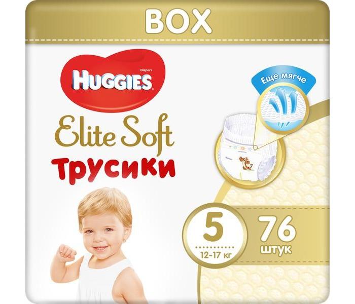 Гигиена и здоровье , Подгузники Huggies Подгузники-трусики Elite Soft 5 (12-17 кг) 76 шт. арт: 370563 -  Подгузники