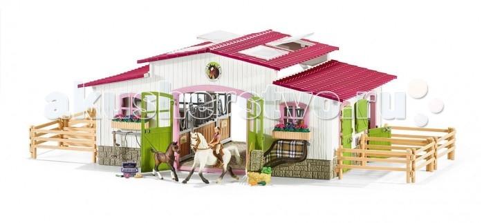 Schleich Игровой набор Конюшня Центр верховой ездыИгровой набор Конюшня Центр верховой ездыSchleich Игровой набор Конюшня Центр верховой езды понравится каждому заводчику игрушечных лошадей.   Особенности: Новый большой центр верховой езды с зелеными дверями и розовыми окошками выглядит просто невероятно!  В центре верховой езды есть все необходимое для любимых лошадок, занятий с ними и ухода за ними: просторные и уютные стойла, разнообразный корм, амуниция для занятий, наборы для ухода за лошадьми, просторные загоны для выгула.  Из составляющих конюшни также можно собрать крытую арену для тренировок. Окошки в крыше арены открываются.  Новый центр верховой езды непременно понравится и лошадкам и наездникам. С этим большим набором будет интересно устраивать увлекательные игры с фигурками лошадей.  Сюжетно-ролевые игры с фигурками развивают фантазию и воображение ребенка.  Красочные фигурки выглядят невероятно реалистично, приятны на ощупь. Фигурки Schleich выполнены из качественного каучукового пластика, который безопасен для детей.  Каждая игрушка выполнена с особенной тщательностью и вниманием к деталям. Игрушки имеют оригинальную текстуру.  В комплекте: конюшня 12 элементов изгородей 2 ящика с цветами 1 лошадь 1 жеребенок 1 наездница 1 седло 1 уздечка 1 попона 1 недоуздок 1 брикет сена 1 брикет соломы 1 вилы 1 пучок моркови 1 упаковка зеленых яблок 4 кормушки для лошадей 4 поильника для лошадей 1 ящик для хранения аксессуаров по уходу за лошадьми 3 разных щетки для чистки лошадей 1 набор наклеек для конюшни.<br>