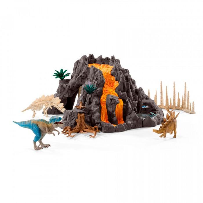 Schleich Игровой набор Гигантский вулкан и Т-рексИгровой набор Гигантский вулкан и Т-рексSchleich Игровой набор Гигантский вулкан и Т-рекс приведет в восторг всех любителей динозавров и доисторических животных.  Особенности: Набор станет прекрасной основой для игр с любимыми фигурками.  Вулкан сделан невероятно реалистично и имеет несколько игровых функций. Пещеру можно закрыть необычной дверью из сталагмитов.  Древняя окаменелость в одной из сторон вулкана неожиданно обратится камнепадом и станет настоящей преградой для древних обитателей равнины.  В небольшом водоёме обитает красочная лягушка и рыбка.  Великолепные фигурки динозавров выполнены очень детализировано. Они позволят ребенку придумать множество захватывающих игр со своими любимыми древними обитателями.  Фигурки сделаны из качественного каучукового пластика, который безопасен для детей и не вызывает аллергию.  Набор Гигантский вулкан станет достойным пополнением красочной коллекции игрушек Шляйх, которые восхищают детей и взрослых во всем мире.  В комплекте: Детали для сборки вулкана Сталагмиты Растения Водоём Сборный скелет динозавра Тираннозавр Рекс Стегозавр Лягушка Рыбка.<br>