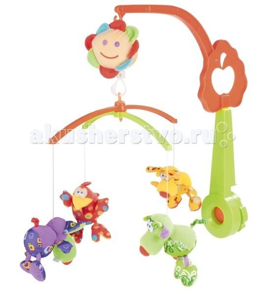 Мобиль Canpol Мапеты 9/927Мапеты 9/927Музыкальная карусель Canpol Мапеты 9/927 крепится на кроватку. Разноцветные плюшевые олень, коровка, цыпа и мышка с большими удивленными глазами обязательно привлекут к себе интерес Вашего малыша. Наблюдая за их вращением на музыкальной карусельке Canpol, ребенок быстрее научится фокусировать зрение на движущихся предметах.  Красочные и мягкие плюшевые игрушки привлекают внимание ребенка, развивают его зрение и координацию движений.  Приятная мелодия музыкальной шкатулки успокаивает ребенка и помогает ему заснуть.  Вы можете отсоединить любимые фигурки и дать их малышу. Стирать игрушки согласно инструкции.<br>