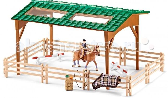 Schleich Игровой набор Для верховой ездыИгровой набор Для верховой ездыSchleich Игровой набор Для верховой езды порадует каждого поклонника миниатюрных лошадок, большим количеством интересных аксессуаров и приспособлений для увлекательных игр.   Особенности: Набор с большой ареной для лошадей, фигуркой наездницы и аксессуарами сделает игру увлекательной и познавательной с возможностью включения неограниченного количества игрушек.  Большая арена состоит из ограждения и навеса с крышей и прозрачными окошками.  Набор включает также приспособления для соревнований, необходимый корм и различные аксессуары для лошадок, которые легко крепятся на перила загона.  Арена, лошадь и аксессуары выполнены из качественного каучукового пластика, который безопасен для детей.  Элементы приятны на ощупь, каждая игрушка выполнена с особенной тщательностью и вниманием к деталям.  Игрушки раскрашиваются вручную, имеют оригинальную текстуру, повторяющую образ реальных предметов.  В комплекте: Арена для конкура с ограждением Препятствия для соревнований Лошадка с наездницей Попона и уздечка Корм и аксессуары.<br>