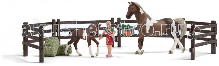 Игровые наборы Schleich Набор кормление лошадей наездник фигурка наездницы с лошадью schleich