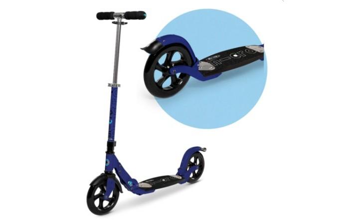 Двухколесный самокат Micro Flex BlueFlex BlueСамокат Micro Flex Blue предназначен для детей от 7-ми лет и старше.  Изделие отличается простой и надежной конструкцией, ярким дизайном, прочностью и способностью быстро набирать скорость.  Самокат укомплектован большими полиуретановыми колесами, размером 200 мм, складным механизмом, регулируемым по высоте рулем, способным выдвигаться до 103 см.  Благодаря увеличенным колесам, самокат Micro обладает отличной устойчивостью. Конструктивно самокат оснащен парковочной ножкой (складывающейся подножкой), задним тормозом с резиновой накладкой, низкой платформой с противоскользящей поверхностью.   Рукоятки самоката с резиновыми накладками, чтобы ездоку было удобно за них держаться во время активного катания.  Особенности самоката: прочная рама (алюминий, дерево, стекловолокно) износостойкие подшипники складной механизм складная подножка руль телескопического типа необычный дизайн высота руля 72-102 см размер платформы для ноги 33 х 13 см длина самоката 90 см диаметр колес передние/задние 200/200 мм подшипники Abec - 5  рекомендованный рост от 110 см<br>