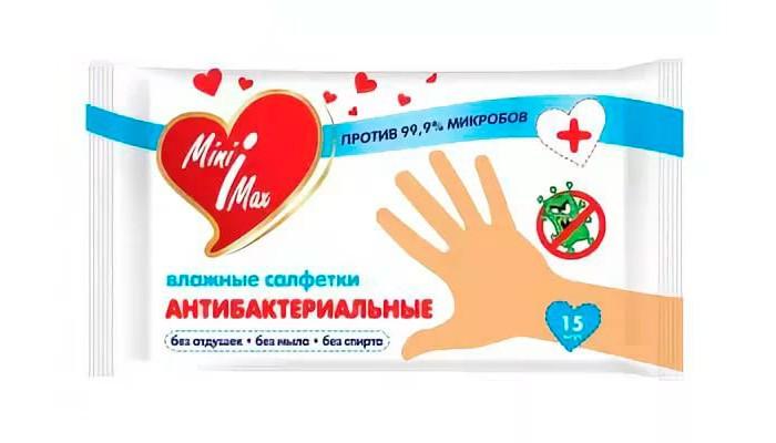 Салфетки MiniMax Салфетки антибактериальные 15 шт. minimax подгузники для взрослых размер m 10 шт