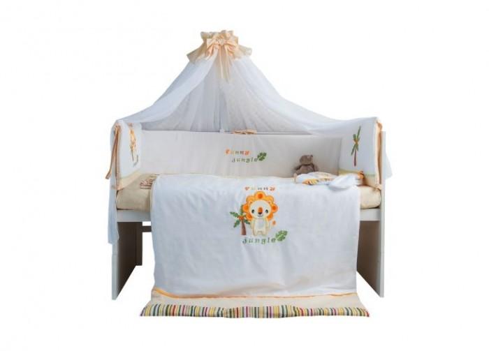 Комплект в кроватку Polini Джунгли 120х60 (7 предметов)Джунгли 120х60 (7 предметов)Комплект в кроватку Polini Джунгли 120х60 (7 предметов) украшенный забавным рисунком, станет настоящим украшением любой детской и подарит малышу много сладких снов.   В комплекте: Борт со съемными чехлами: 180х37 см Балдахина: 400 см Подушка: 40х60 см Одеяло: 110х140 см Наволочка: 40х60 см Простыня на резинке: 120х60 см Пододеяльник: 110х140 см<br>