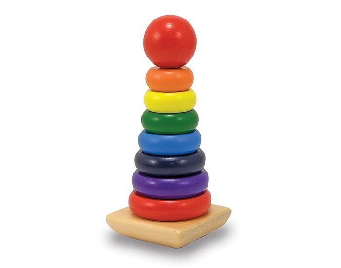 Деревянные игрушки, Деревянная игрушка Melissa & Doug Радужная пирамидка  - купить со скидкой
