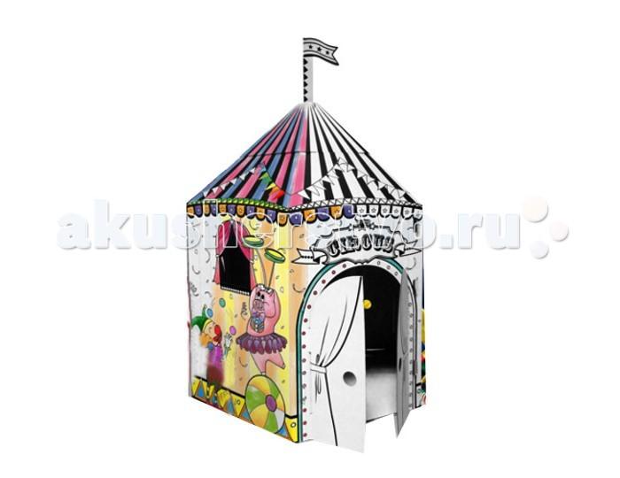 CartonHouse Игровой домик Картонный раскраска ЦиркИгровой домик Картонный раскраска ЦиркКартонный домик Цирк - отличный продукт для совместного детского творчества в детских садах, школах, кружках, а также для родителей и детей.   Домик легко и компактно складывается если не используется и так же быстро собирается в нужный момент. Дети могут устанавливать домики самостоятельно, либо вместе с родителями.  Это увлекательно и весело, сначала построить домик своими руками, а затем его раскрасить.  Игровой домик изготавливается из плотного картона, его легко собрать и разобрать снова.  На его стенах можно рисовать любыми карандашами, фломастерами и красками.  Размер 100х86.6х118.6 см Вес 3.7 см<br>