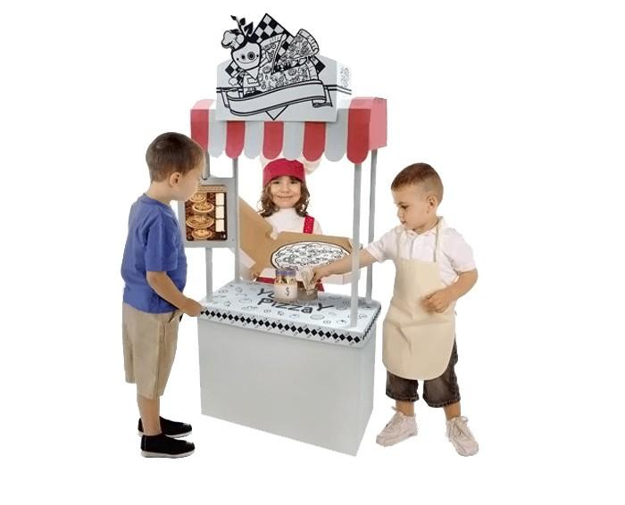 CartonHouse Игровой домик Картонный раскраска ПиццерияИгровой домик Картонный раскраска ПиццерияКартонный домик Пиццерия - отличный продукт для совместного детского творчества в детских садах, школах, кружках, а также для родителей и детей.   Домик легко и компактно складывается если не используется и так же быстро собирается в нужный момент. Дети могут устанавливать домики самостоятельно, либо вместе с родителями.  Это увлекательно и весело, сначала построить домик своими руками, а затем его раскрасить.  Игровой домик изготавливается из плотного картона, его легко собрать и разобрать снова.  На его стенах можно рисовать любыми карандашами, фломастерами и красками.  Размер 75.4х30х168.4 см Вес 4.7 см<br>