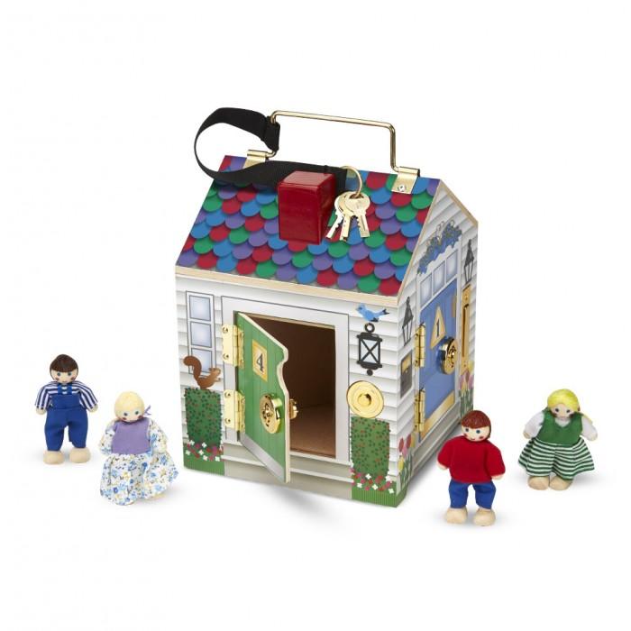 Melissa &amp; Doug Кукольный домик с замкамиКукольный домик с замкамиСоздай свой мир Melissa & Doug Дом с замками - красивый раскладной домик с замочками, ключиками и куколками, который можно даже взять с собой в путешествие.   Домик это одновременно и игрушка и хранилище для четырех маленьких куколок, входящих в комплект<br>