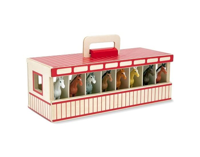 Деревянная игрушка Melissa &amp; Doug Стойло для 8 лошадейСтойло для 8 лошадейСоздай свой мир Melissa & Doug Стойло для 8 лошадей -   Это стойло для лошадей удобно для переноски благодаря наличию специальной ручки сверху. Сзади имеются раскрывающиеся дверцы.  В набор входит 8 лошадок.<br>