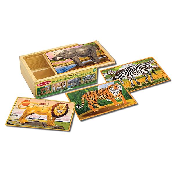 Пазлы Melissa & Doug Деревянные пазлы Дикие животные в коробке пазлы русский стиль макси пазлы африканские животные